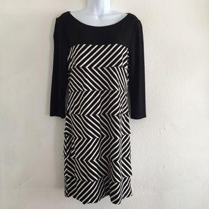 WHBM Small Dress Striped Tiered Knit Black Ecru